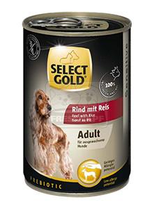 Select Gold konzerv érzékeny felnőtt kutyáknak - marha, rizs 400g