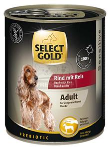 Select Gold konzerv érzékeny felnőtt kutyáknak – marha, rizs 800g