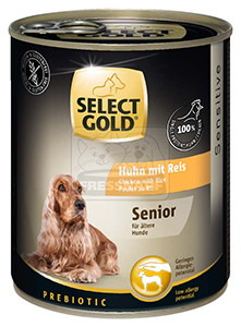 Select Gold Senior konzerv érzékeny idős kutyáknak - csirke, rizs 800g