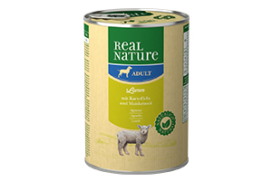 Real Nature kutyakonzerv, 400 g bárány raguval