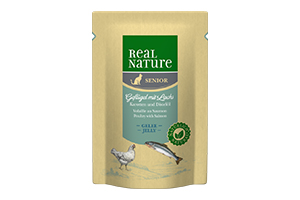 Real Nature cica tasakos lazac- és baromfihús karottával és pórsáfrányolajjal 85g