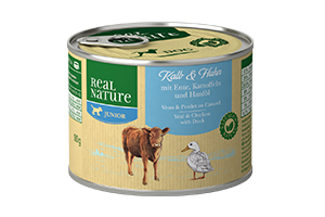Real Nature Junior borjú- és baromfihúsos kutyakonzerv kölyköknek 200g