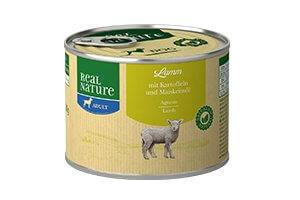 Real Nature bárány burgonyával és kukoricacsíra-olajjal kutyakonzerv 200g