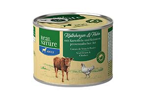 Real Nature borjúszív és csirke burgonyával és provence-i fűszerekkel kutyakonzerv 200g