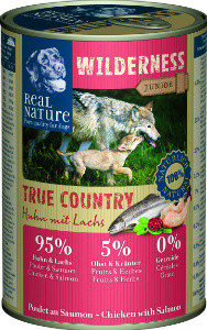Real Nature Wilderness junior csirke lazaccal kutyakonzerv 400g