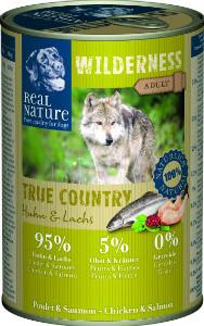 Real Nature Wilderness csirke és lazac kutyakonzerv 400g