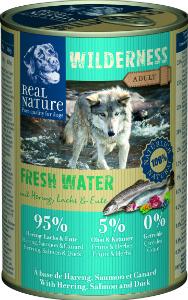 Real Nature Wilderness heringgel, lazaccal és kacsával kutyakonzerv 400g
