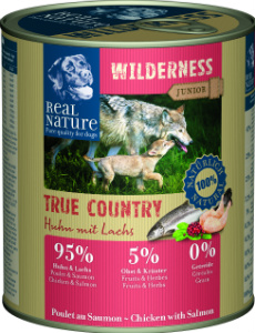 Real Nature Wilderness junior csirke lazaccal kutyakonzerv 800g