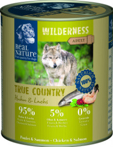 Real Nature Wilderness csirke és lazac kutyakonzerv 800g