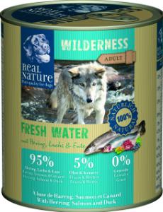 Real Nature Wilderness heringgel, lazaccal és kacsával kutyakonzerv 800g