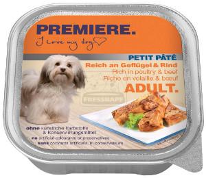 PREMIERE Petits Paté tálkás kutyáknak szárnyas+marha 150g