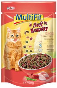 MultiFit Soft'n Knuspy cica száraz marha+csirke+zöldség 750g