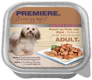 PREMIERE Petit Filets tálkás kutyaeledel pulyka+marha 150g
