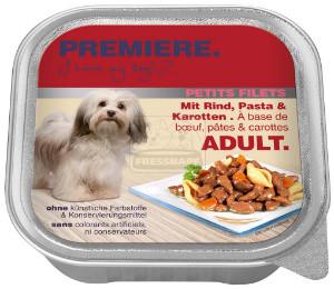 PREMIERE Petit Filets tálkás kutyaeledel marha+tészta+répa 150g