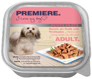 PREMIERE Petit Filets tálkás kutyaeledel borjú+pulyka 150g