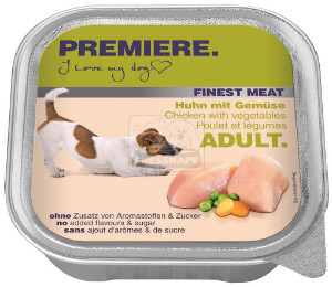 PREMIERE Finest Meat tálkás kutyaeledel csirke+zöldség 150g