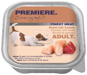 PREMIERE Finest Meat tálkás kutyaeledel csirke+bárány 150g