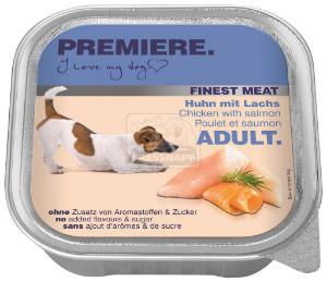 PREMIERE Finest Meat tálkás kutyaeledel csirke+lazac 150g