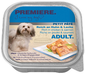 PREMIERE Petit Paté tálkás kutyaeledel csirke+lazac 150g