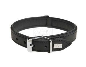 MORE FOR DOGS nyakörv Tradition marhabőr fekete M/32-37cm