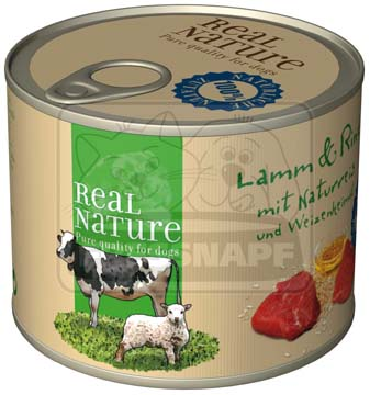 Real Nature bárány- és marhahúsos kutyakonzerv 200g