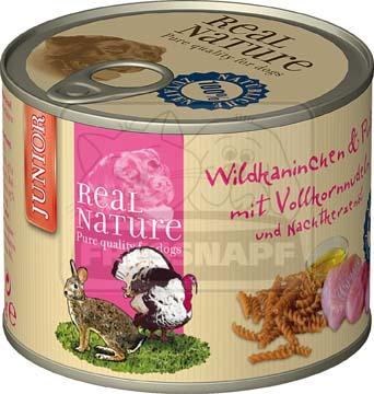 Real Nature Junior nyúl- és pulykahúsos kutyakonzerv kölyköknek 200g