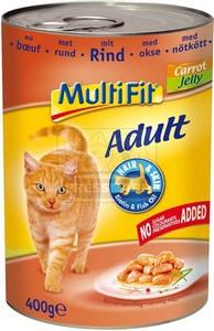 MultiFit cica konzerv marhahússal, répával – zselében 400g