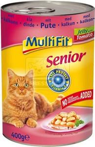 MultiFit cica konzerv pulykahússal, paradicsommal – zselében 400g