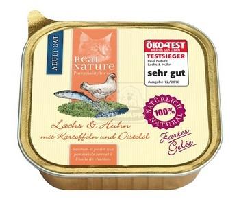 Real Nature cica alutálkás lazac és csirke burgonyával és bogáncsolajjal ízletes zselében 100g