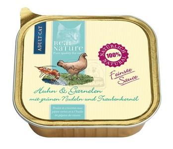 Real Nature cica alutálkás csirke és garnéla zöldtésztával és szőlőmagolajjal ízletes szószban 100g