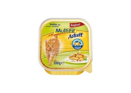 MultiFit adult tálkás cicaeledel – csirke ragu – 100g