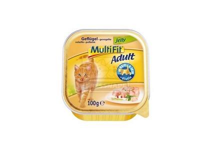MultiFit adult tálkás cicaeledel – szárnyashús zselében – 100g