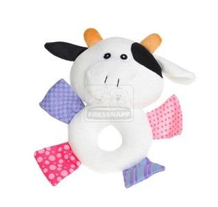 AniOne kutyajáték plüss karika állatfejjel, tehén 22x19x5cm