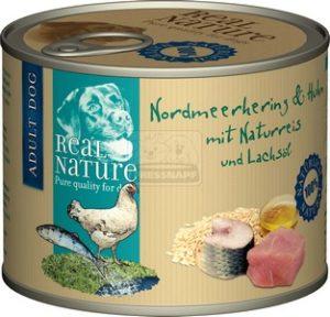 Real Nature északi-tengeri hering és csirke fényezetlen rizzsel és lazacolajjal kutyakonzerv 200g
