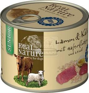 Real Nature senior bárány és borjú zabpehellyel és lenolajjal kutyakonzerv 200g