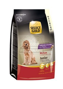 SELECT GOLD Sensitive Medium Junior Bárány, Lazac & Burgonya száraz kutyaeledel 1 kg