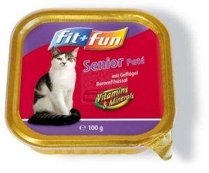 fit+fun tálkás eledel idős cicáknak, szárnyas 100g