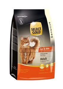 SELECT GOLD Hair & Skin Adult baromfi, lazac és garnéla szárazeledel macskáknak, 400 g