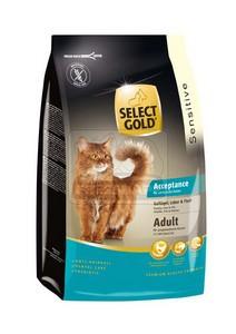 SELECT GOLD Acceptance Adult baromfi, máj & hal, szárazeledel macskáknak, 400 g