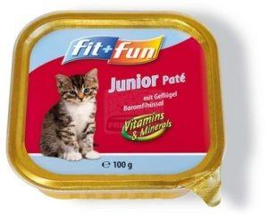 fit+fun tálkás eledel kölyök cicáknak, szárnyas 100g
