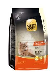 SELECT GOLD Hair & Skin Senior baromfi, lazac & garnéla száraz macskaeledel, 400 g