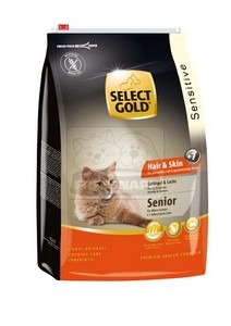SELECT GOLD Hair & Skin Senior baromfi, lazac & garnéla száraz macskaeledel 10 kg