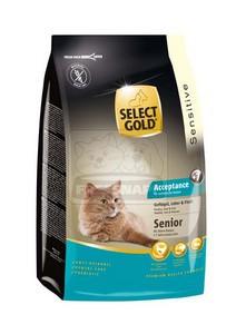 SELECT GOLD Acceptance Senior baromfi, máj & hal szárazeledel macskáknak, 400 g