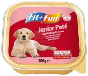 fit+fun tálkás eledel kölyök- és fiatal kutyáknak szárnyas szívvel 300 g