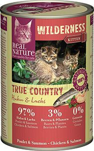 Real Nature Wilderness cicakonzerv kitten csirke+lazac 400g