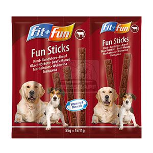 fit+fun Fun sticks falatok kutyáknak marha 55g