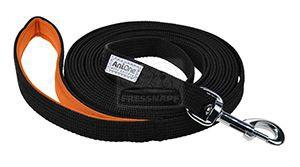 AniOne póráz lapos nyomkövető feket/narancssárga 15m