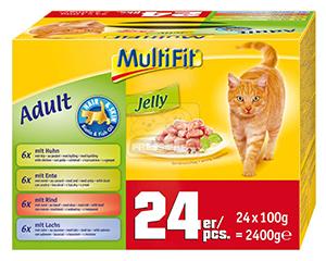 MultiFit zselés cica tasakos eledel hair+skin multipack 24x100g