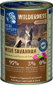 Real Nature Wilderness kutyakonzerv vaddisznó, bárány és kacsa 400g
