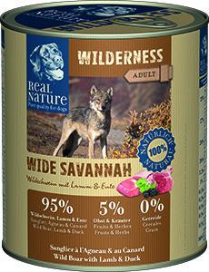 Real Nature Wilderness kutyakonzerv vaddisznó, bárány és kacsa 800g